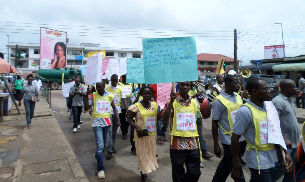 the Procession in Takoradi with banners – Friends of the