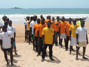 Participating teams from the six coastal districts lining up before start