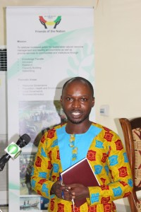 Solomon Kusi Ampofo, Communications, Adovacy and Campaigns Coordinator of FoN, gave introductory comments at the Launch on behalf of the Executive Director of FoN