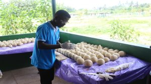 Emmanuel Eshun preparing round ball soap 1JPG