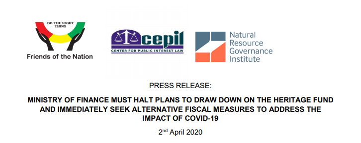 PRESS RELEASE: MINISTRY OF FINANCE MUST HALT PLANS TO DRAW DOWN ON THE HERITAGE FUND AND IMMEDIATELY SEEK ALTERNATIVE FISCAL MEASURES TO ADDRESS THE IMPACT OF COVID-19