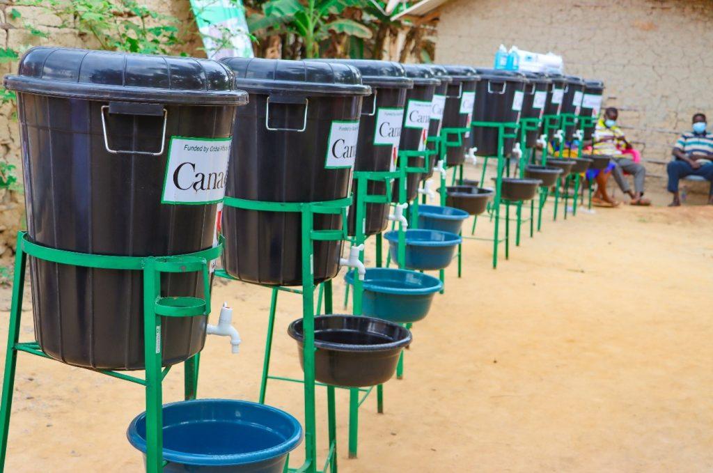 Hand washing stations on display at Ananekrom